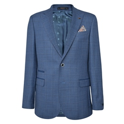 Magee 1866 Blue Windowpane Check Classic Fit Jacket
