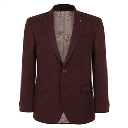 Magee 1866 Maroon Handwoven Herringbone Donegal Tweed Classic Fit Jacket