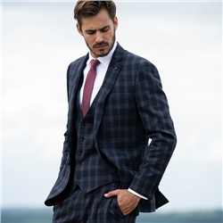 Navy & Burgundy Check 3-Piece Tailored Fit Suit