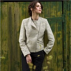 Beige Ards Biker Donegal Tweed Jacket