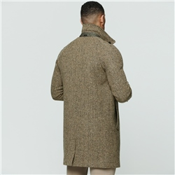Camel/Brown Erne Herringbone Donegal Tweed Raglan Coat