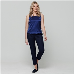Navy Sandy Cropped Tailored Fit Trousers