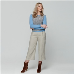 Beige Willow Cropped Irish Linen Trousers