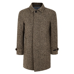 Oat/Brown Erne Herringbone Donegal Tweed Raglan Coat