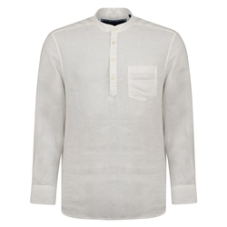 Magee 1866 Ivory Corlea Washed Irish Linen Grandfather Classic Fit Shirt