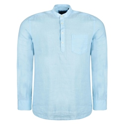 Magee 1866 Baby Blue Corlea Washed Irish Linen Grandfather Classic Fit Shirt