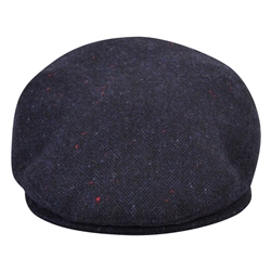 Navy Salt & Pepper Donegal Tweed Cap