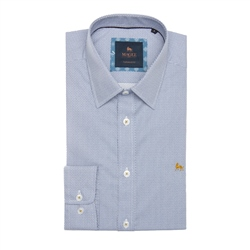 Blue & Yellow Dunross Micro Design Print Tailored Fit Shirt