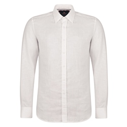 Magee 1866 Ivory Linen Dunross Tailored Fit Shirt