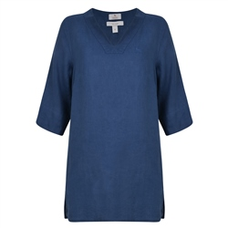 Magee 1866 Navy Ella Washed Irish Linen Tunic Shirt