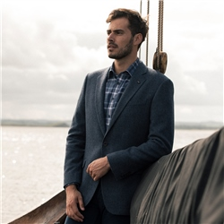 Navy Handwoven Herringbone Donegal Tweed Classic Fit Jacket
