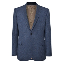 Magee 1866 Navy Handwoven Herringbone Donegal Tweed Classic Fit Jacket