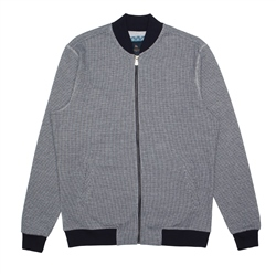 Magee 1866 Grey & Navy Puppytooth Malin Full Zip Sweat