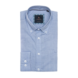 Blue & White Rarooey Check Tailored Fit Shirt
