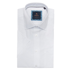 Magee 1866 White Rosbeg Dotted Short Sleeve Classic Fit Shirt