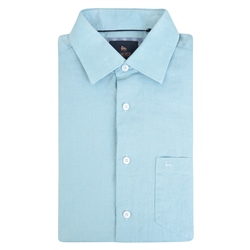 Magee 1866 Blue Rosbeg Washed Irish Linen Short Sleeve Classic Fit Shirt