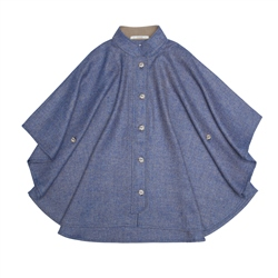 Magee 1866 Blue Sorcha Herringbone Donegal Tweed Cape