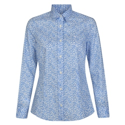Magee 1866 Blue & White Tracy Floral Leaf Liberty Print Tailored Fit Shirt