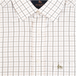 Beige Tullagh Grid Check Classic Fit Shirt