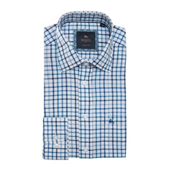 Magee 1866 Blue Tullagh Grid Check Classic Fit Shirt