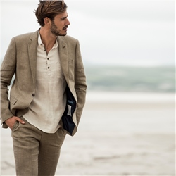 Olive Irish Linen Glen Check 3-Piece Tailored Fit Suit