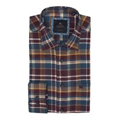 Magee 1866 Tullagh Cross Check Shirt in Maroon