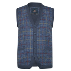 Magee 1866 Navy Darney Check Donegal Tweed Knitted Waistcoat