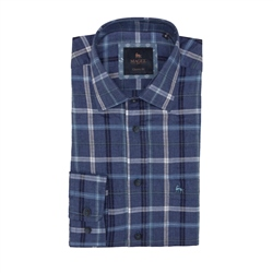 Tullagh Cross Check Shirt in Blue