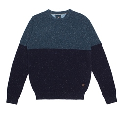Navy & Blue Two Toned Pettigo Crew Neck Jumper