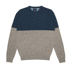 Magee 1866 Blue & Oat Two Toned Pettigo Crew Neck Jumper