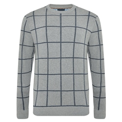 Grey Raphoe Check Crew Neck Jumper