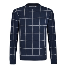 Magee 1866 Navy Raphoe Check Crew Neck Jumper