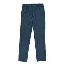Magee 1866 Navy Irish Linen Straid Drawstring Trouser
