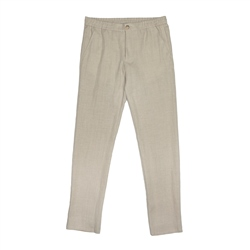 Beige Irish Linen Straid Drawstring Trouser