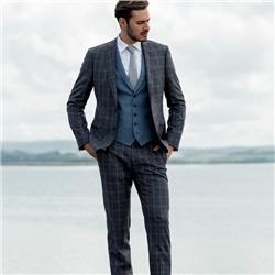 Navy Cross Check 3-Piece Twist Tailored Fit Suit