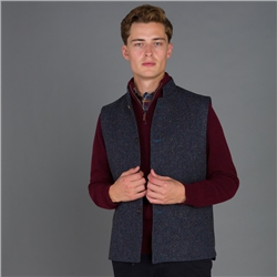 Navy Salt & Pepper Donegal Tweed Cavan Gilet