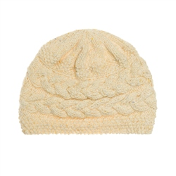 Cream heather Handknit Aoife Cable Hat