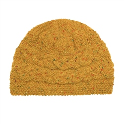 Mustard Yellow Donegal fleck Handknit Aoife Cable Hat