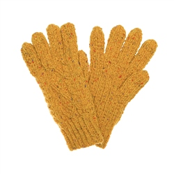 Magee 1866 Mustard Yellow Donegal fleck Handknit Aran Gloves