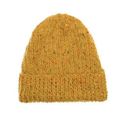 Magee 1866 Mustard Yellow Donegal fleck Handknit Beanie Hat