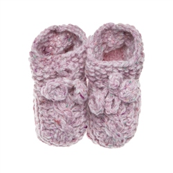 Magee 1866 Baby Pink Heather Handknit Baby Booties