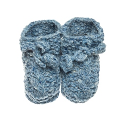 Magee 1866 Baby Blue Heather Handknit Baby Booties