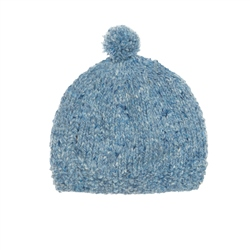 Magee 1866 Baby Blue Heather Handknit Baby Hat