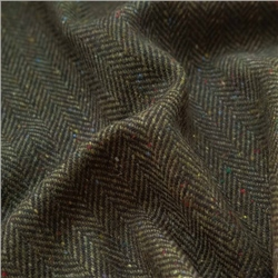 Magee 1866 Bluestack - Green & Navy Herringbone Flecked Donegal Tweed
