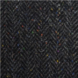 Eske - Black & Grey Herringbone, Flecked Donegal Tweed