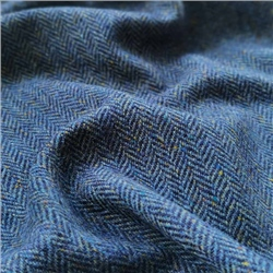 Eske - Navy & Blue Herringbone, Flecked Donegal Tweed