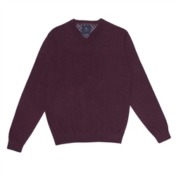 Magee 1866 Maroon Carn Cotton V Neck Jumper