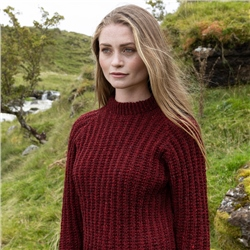 Burgundy Heather Handknit Maeve Fisherman Rib Jumper