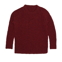 Magee 1866 Burgundy Heather Handknit Maeve Fisherman Rib Sweater