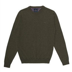Green Lunnaigh Lambswool Crew Neck Jumper